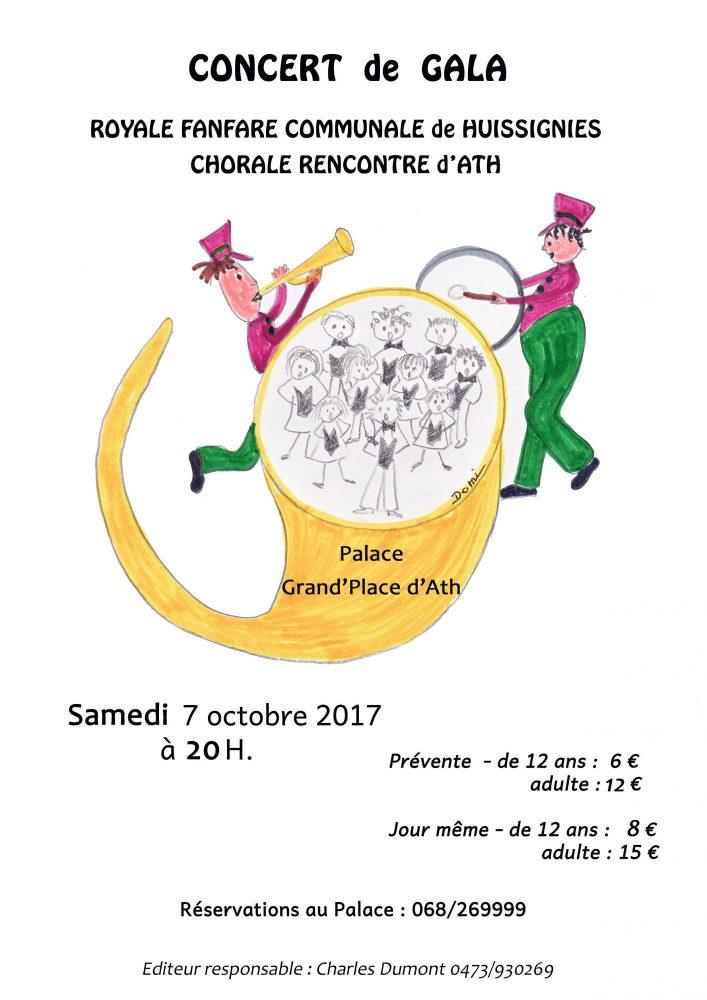 Concert de Gala : la chorale Rencontre d'ATH et la Royale fanfare communale de HUISSIGNIES.